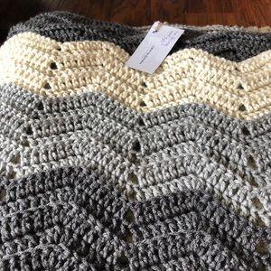Grey Chevron Crocheted King Size Blanket Hand Made
